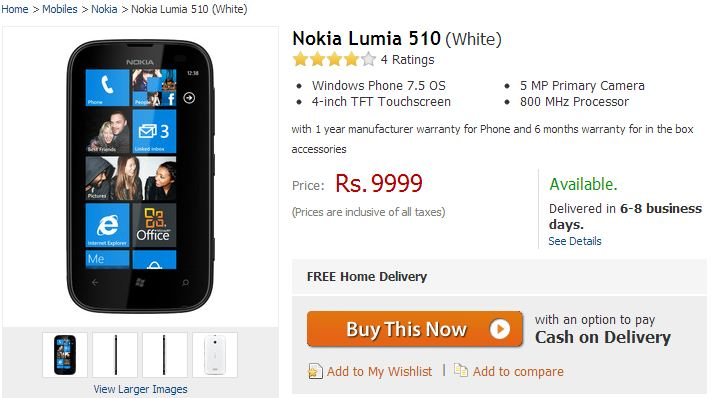 Update Nokia Lumia 510 Listed On Flipkart For Rs 9 999