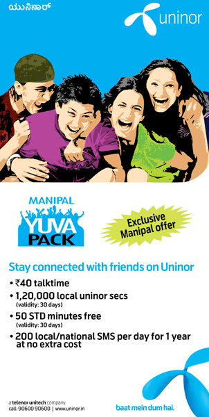 Uninor-Yuva-manipal-offer