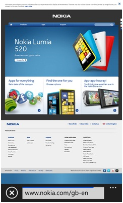 Nokia Lumia 620 browser