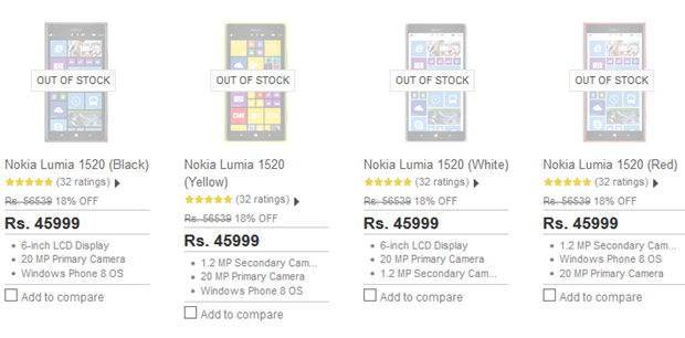 Lumia 1520 out of stock Flipkart
