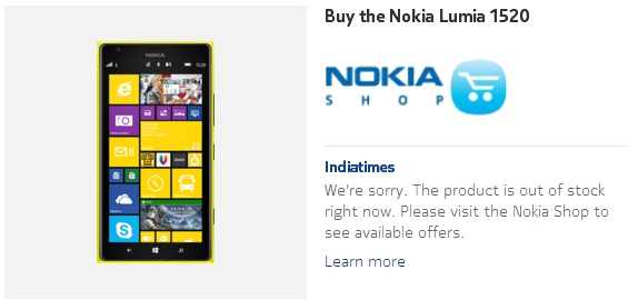 Lumia 1520 out of stock