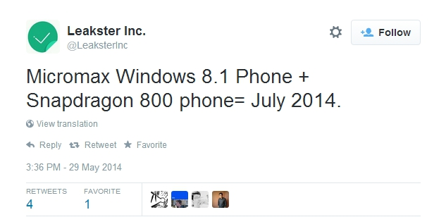 Micromax Windows Phone tweet