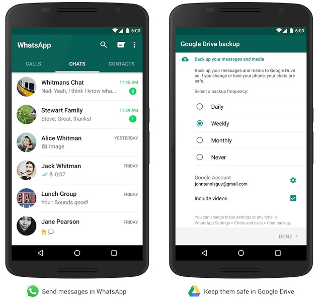 Now backup WhatsApp messages, messages, photos and videos on Google Drive