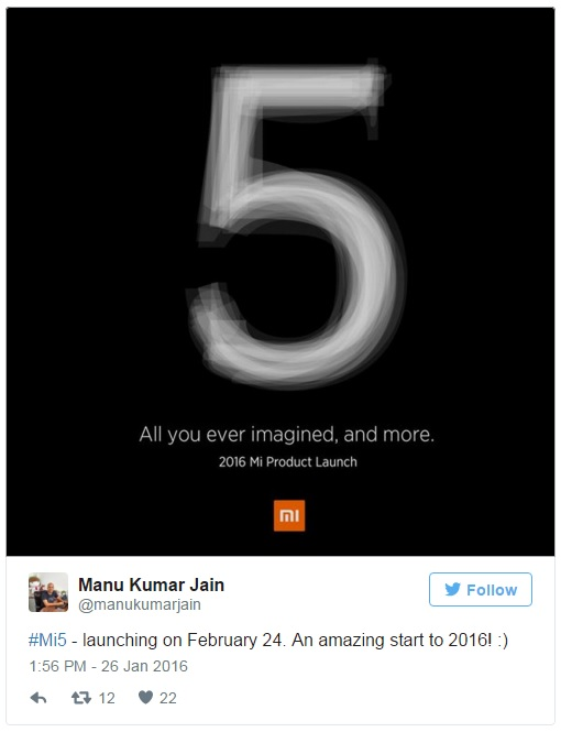 xiaomi-mi-5-cofirmed-unveiling-date-mi-india-head-tweet