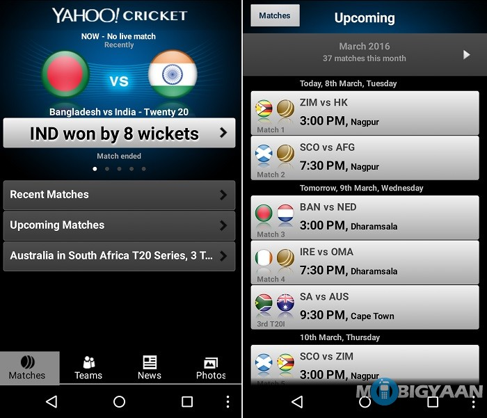 yahoo cricket live