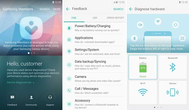 Samsung Members app with instant diagnostics, support and message