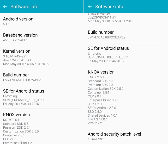Samsung Galaxy A5 (2016) receiving June security update