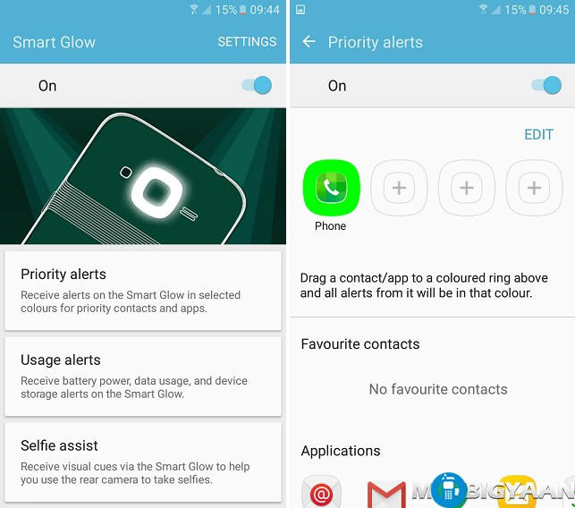 How to use Smart Glow on Samsung Galaxy J2 (2016)