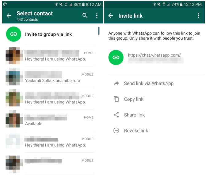 group chat android versions