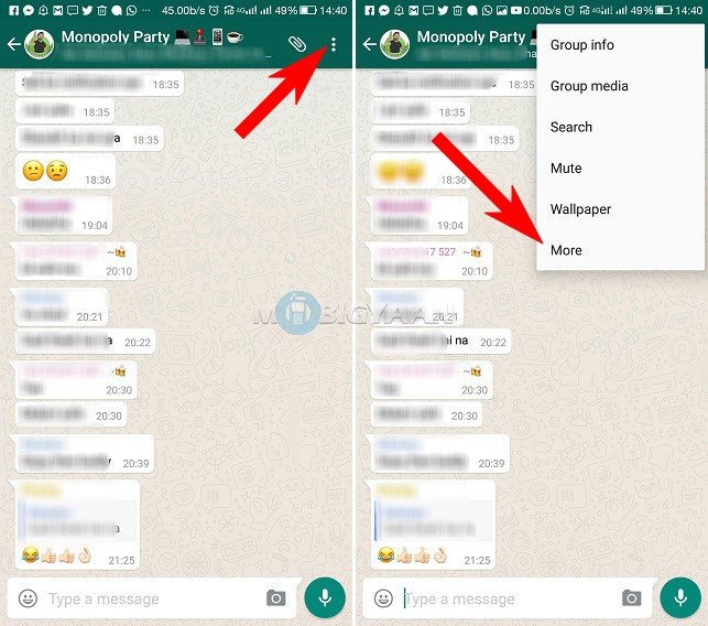 save whatsapp chat as text