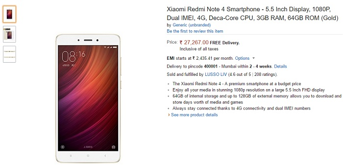 Xiaomi Redmi Note 4 listed on Amazon India for ₹27,267 Xiaomi Redmi Note 4 listed on Amazon India for ₹27,267