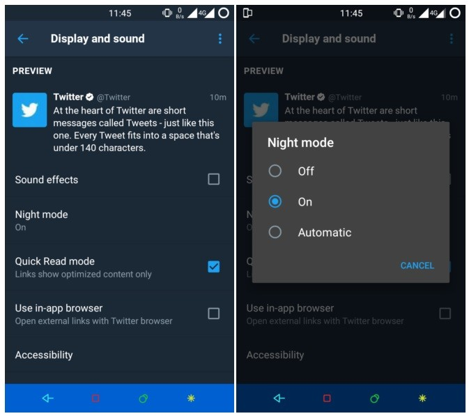 Twitter testing automatic night mode in its Android app