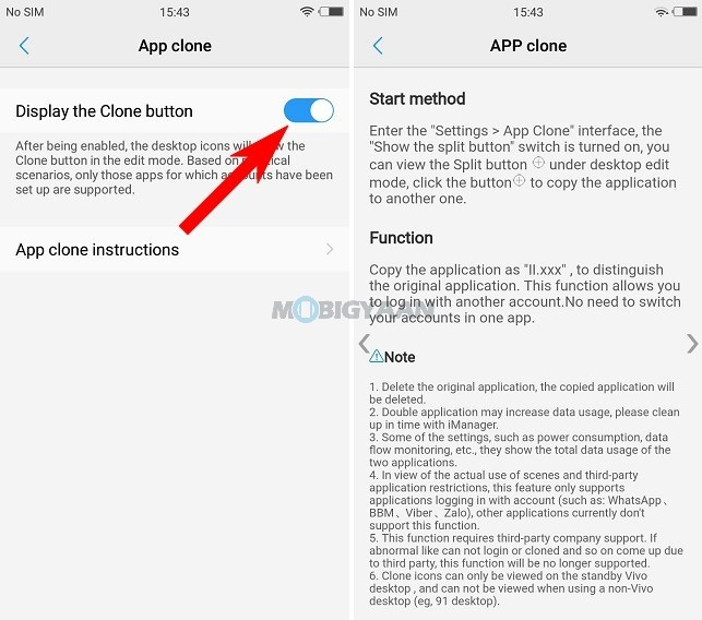 How to run two WhatsApp accounts on Vivo V5s by using App Clone Feature