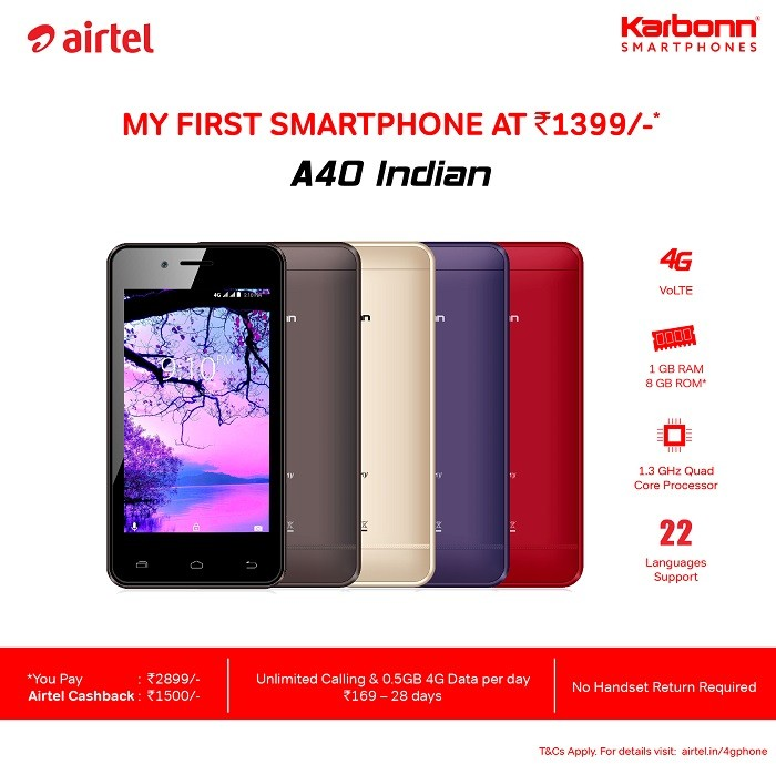 karbonn-a40-indian-airtel-4g-smartphone-offer