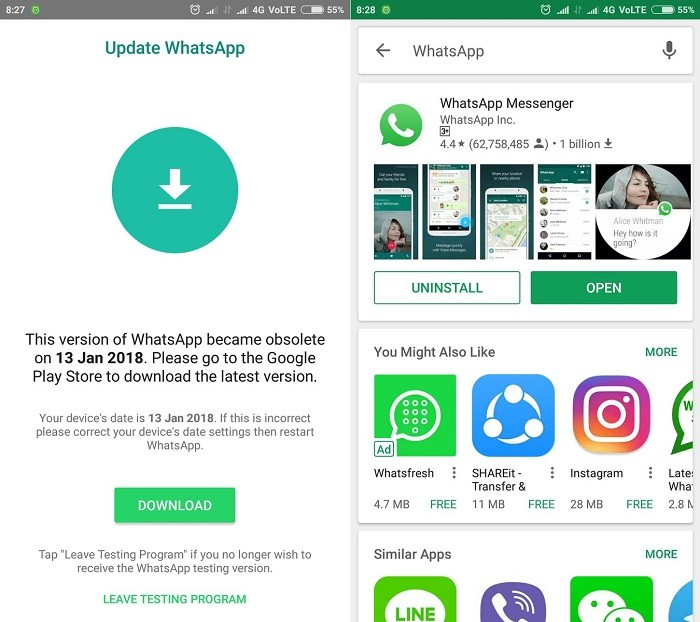 WhatsApp obsolete error faced by some users, company working on a fix