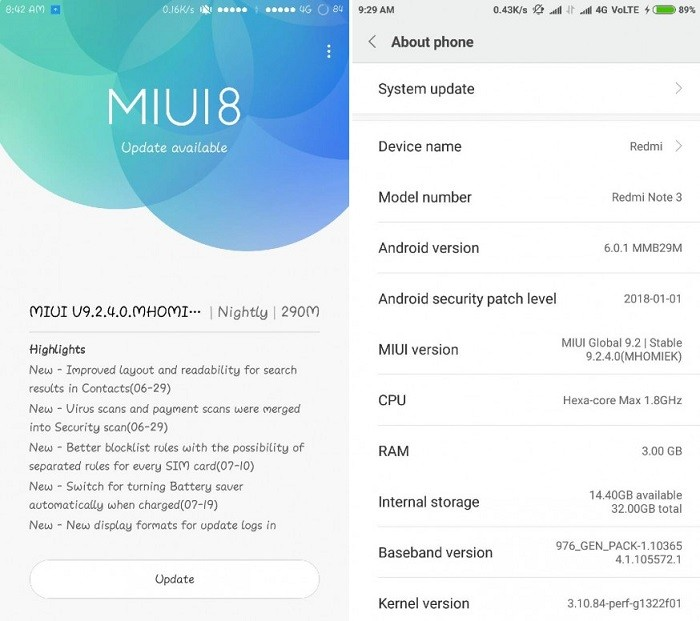 Xiaomi Redmi Note 3 receiving MIUI 9 2 Global Stable ROM update