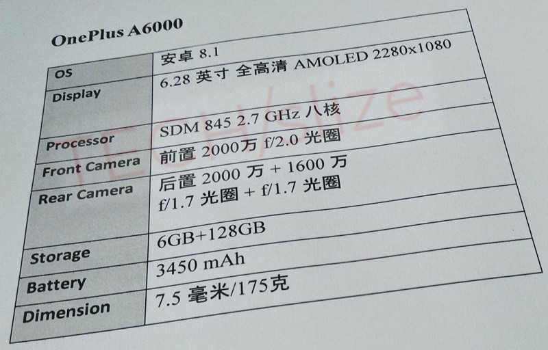 OnePlus 6 specs leaked, shows 6.28-inch display and Snapdragon 845 SoC