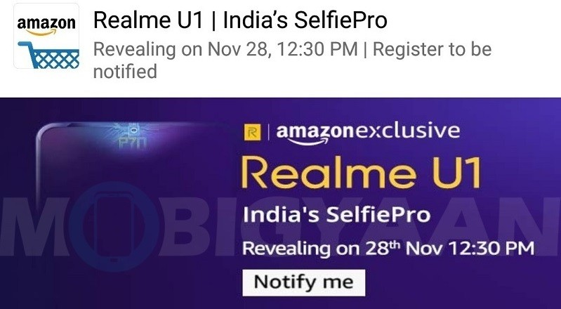 Realme U1 Launching Exclusively on Amazon India on November 28th