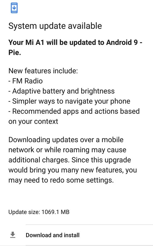Xiaomi Mi A1 Android 9 0 Pie update rolling out in India