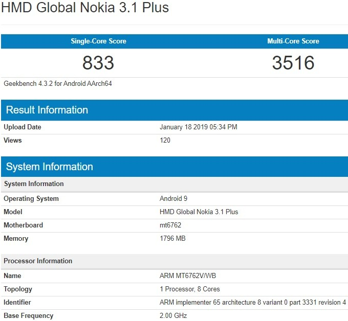 nokia-3-1-plus-android-9-pie-geekbench